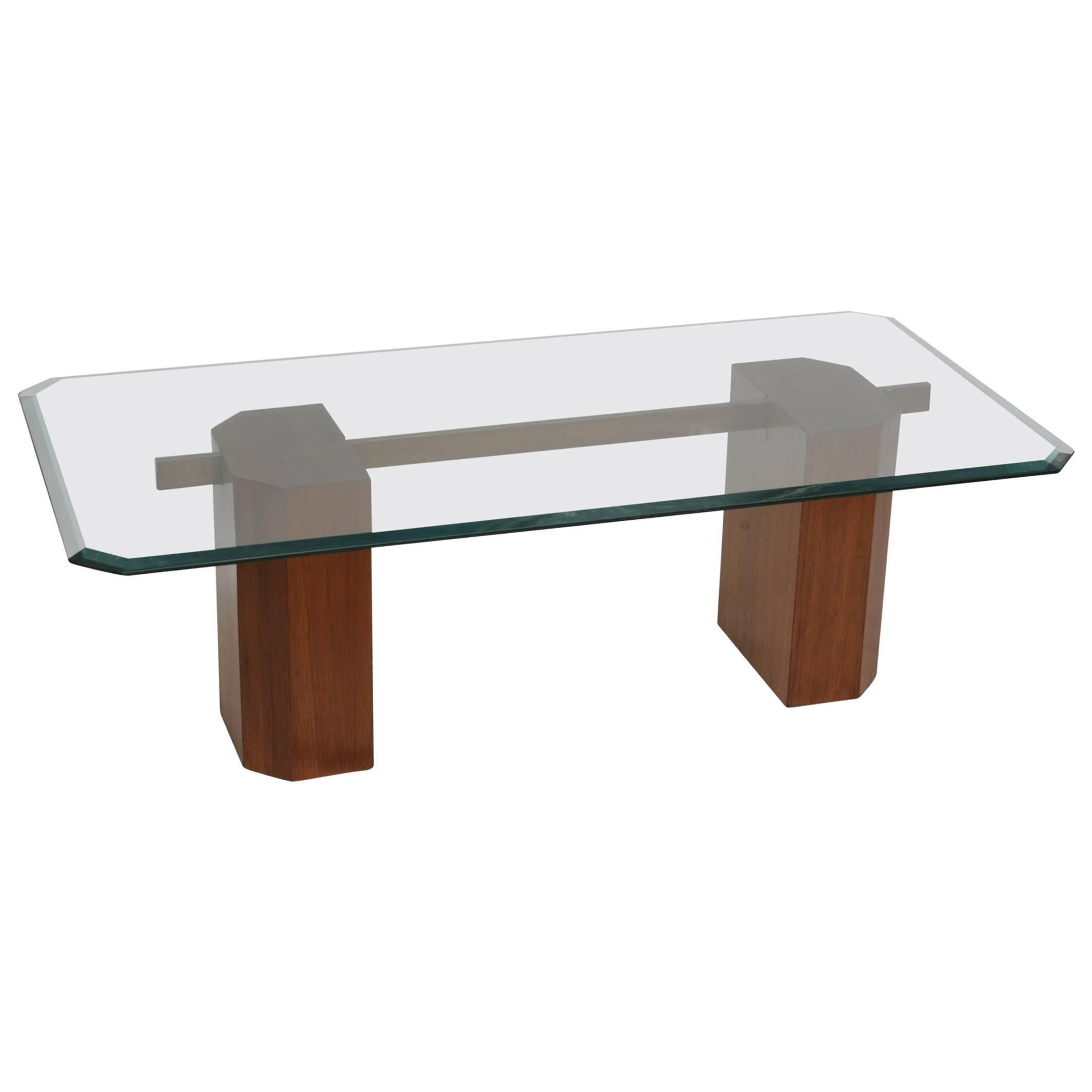 Danish Mid-Century Modern Solid Teak and Brass Coffee Table