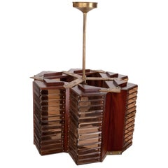 Teak and Smoked Glass Pendant Light from Midcentury Cruise Ship