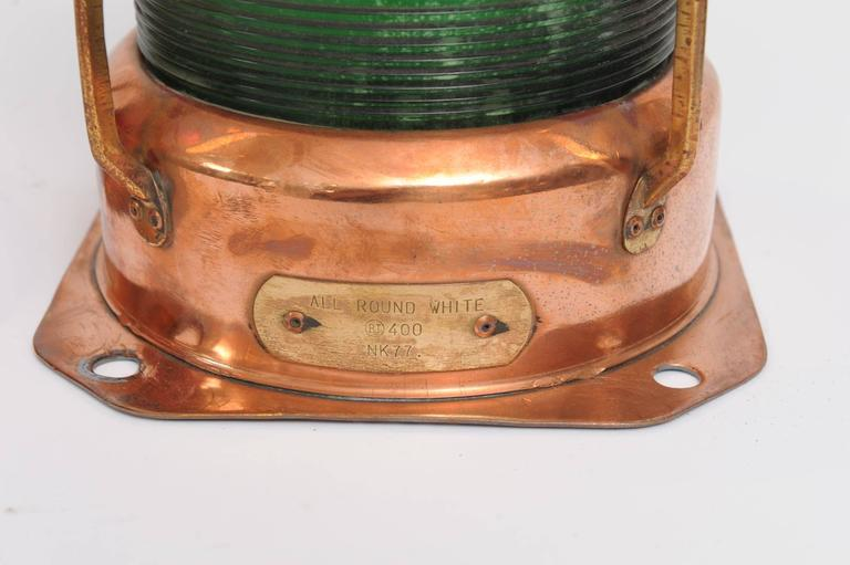Industrial Pair of Port and Starboard Copper Ship's Navigational Lights, Midcentury For Sale
