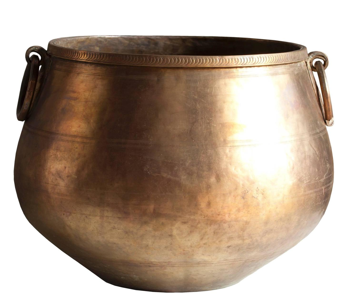 Large Bronze And Brass Planter With Fine Detailing Early