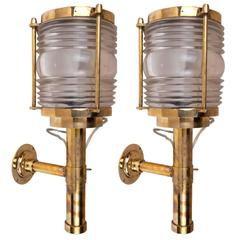Pair of Ship's Brass Passageway Lights with Fresnel Lens, Mid-Century