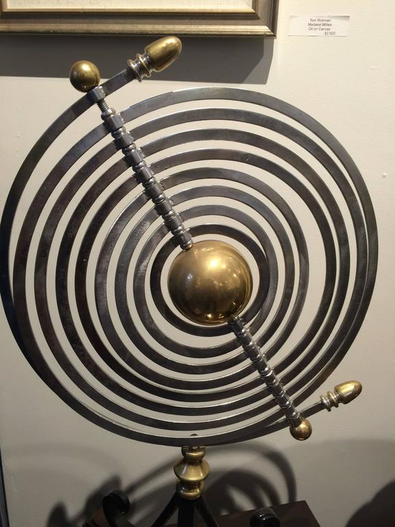 Chrome and Brass Armillary with Teak and Iron Base In Excellent Condition For Sale In Nantucket, MA
