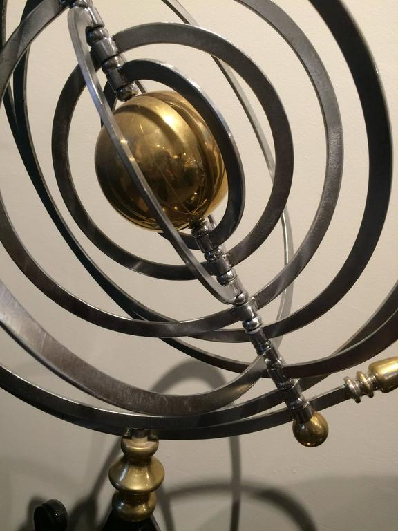 Chrome and Brass Armillary with Teak and Iron Base For Sale 2