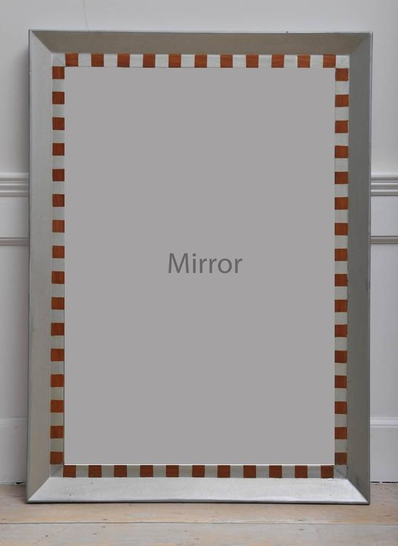 Teak mirror with silver marine paint originally used in the stateroom of a mid-century passenger ship. Rare find and nice size. Hang vertically or horizontally.  Nautical antiques located on Nantucket Island.