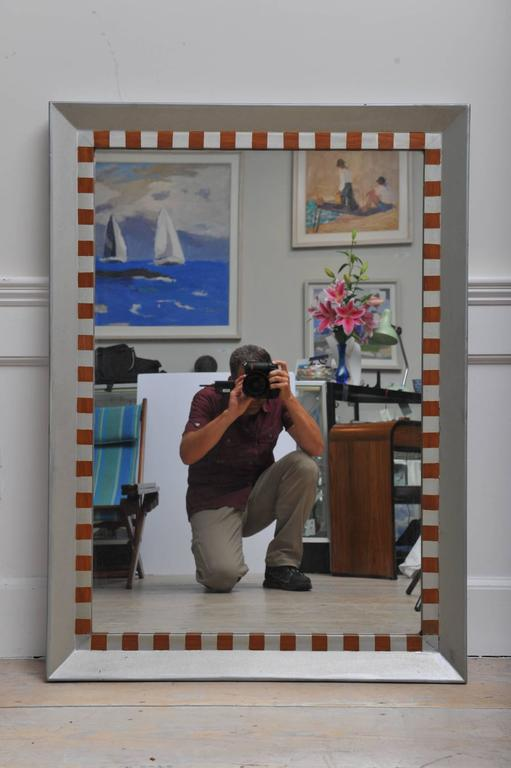 Painted Silver and Teak Nautical Wood Mirror from Ship's Stateroom, Mid-Century In Excellent Condition For Sale In Nantucket, MA