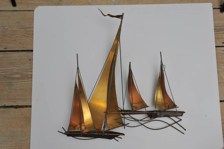 Curtis Jeré Brutalist Period Nautical Sailboat Wall Sculpture, 1969 In Good Condition For Sale In Nantucket, MA
