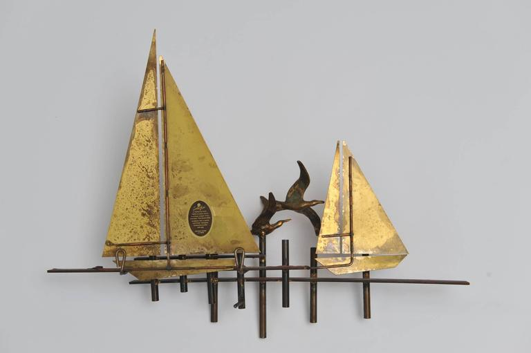 20th Century Signed and Dated Curtis Jere Brutalist Sailboat Sculpture, 1979 For Sale