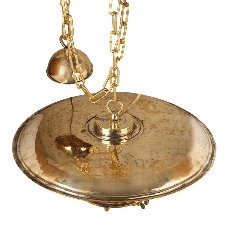 Large Midcentury Nautical Brass and Fresnel Lens Post Light, Russian In Excellent Condition For Sale In Nantucket, MA