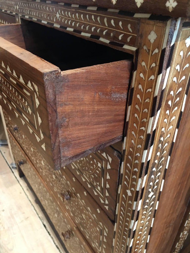 Exceptional Early 1900s Chest Of Drawers With Bone And