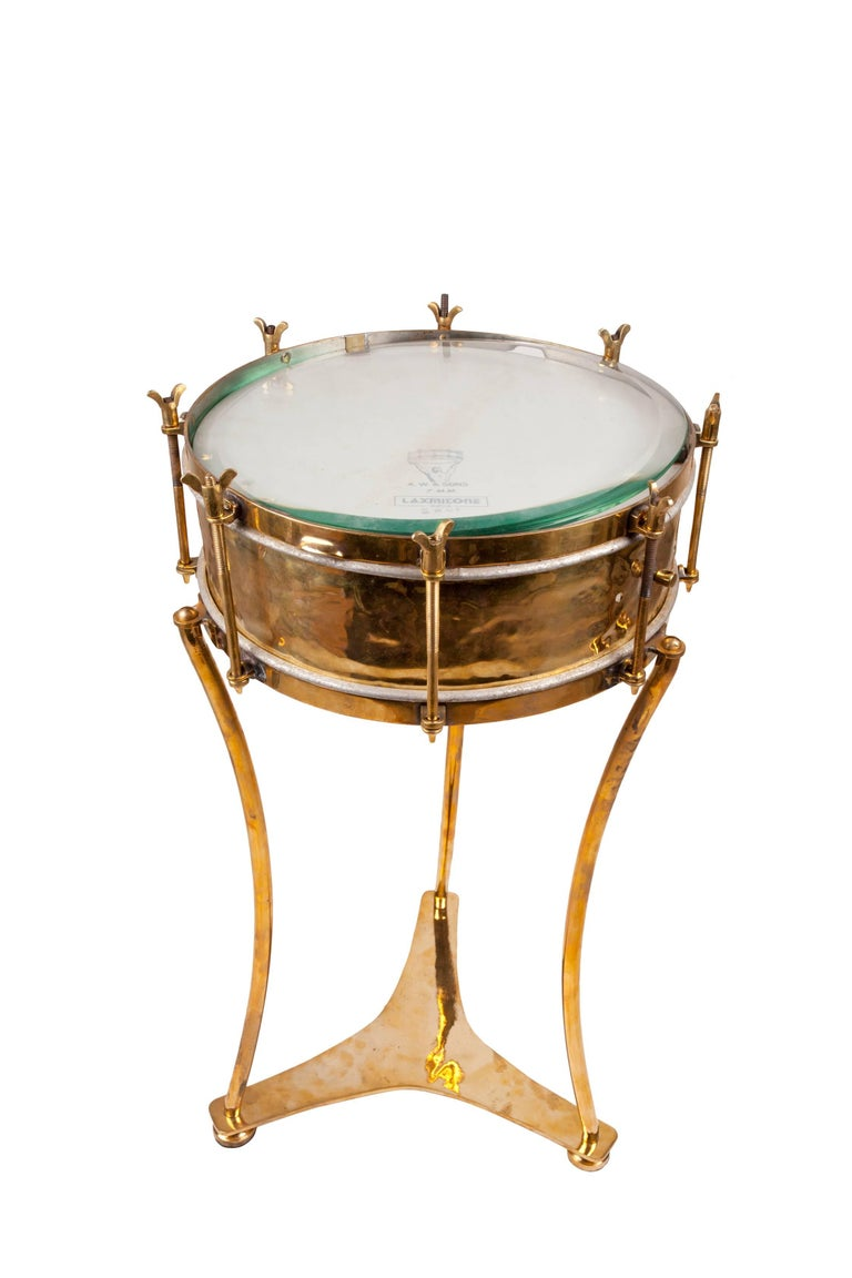 solid brass military or marching band snare drum converted to table early 1900s for sale at 1stdibs. Black Bedroom Furniture Sets. Home Design Ideas