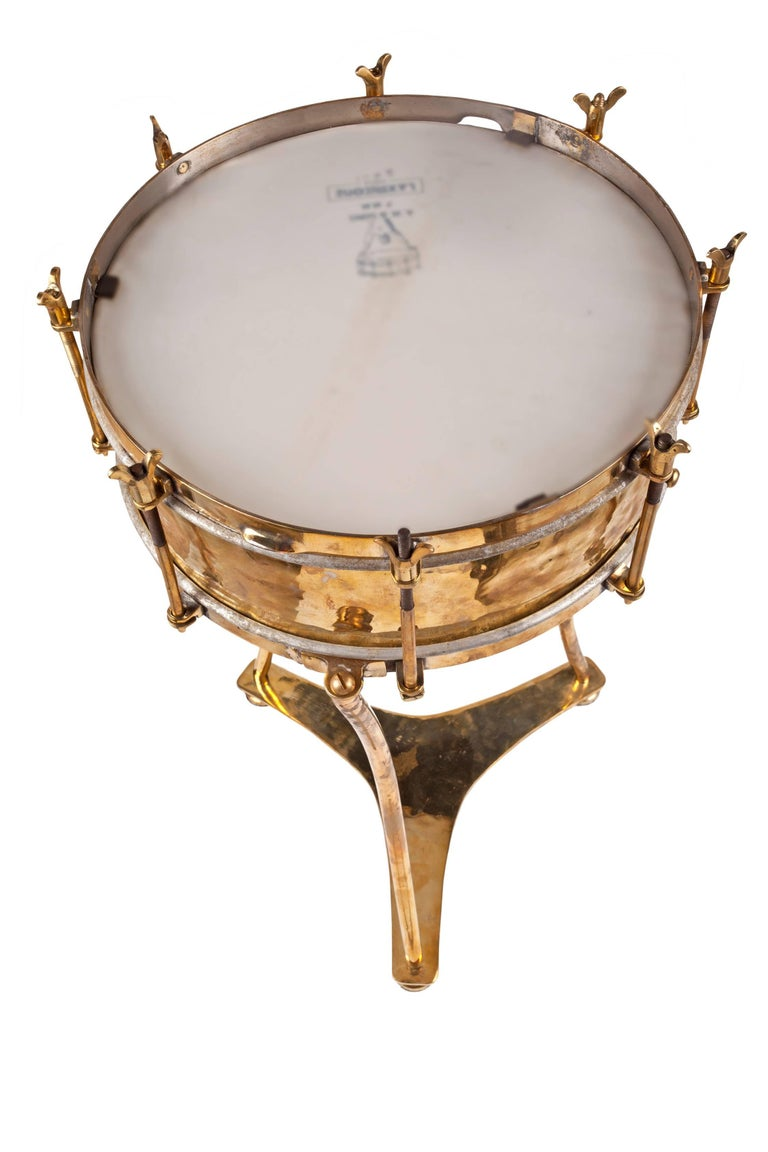 Solid Brass Military or Marching Band Snare Drum Converted to Table, Early 1900s In Excellent Condition For Sale In Nantucket, MA