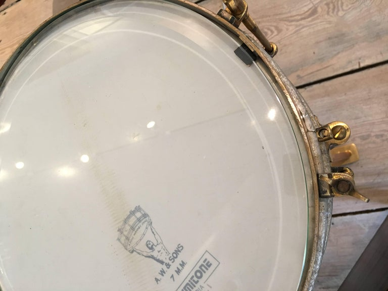 20th Century Solid Brass Military or Marching Band Snare Drum Converted to Table, Early 1900s For Sale