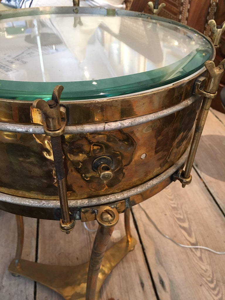 Solid Brass Military or Marching Band Snare Drum Converted to Table, Early 1900s For Sale 1