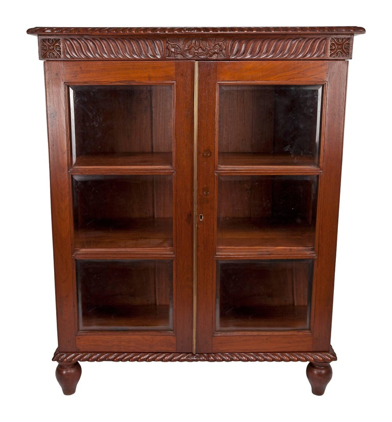 British Colonial Mahogany Petite Bookcase With Glass Door