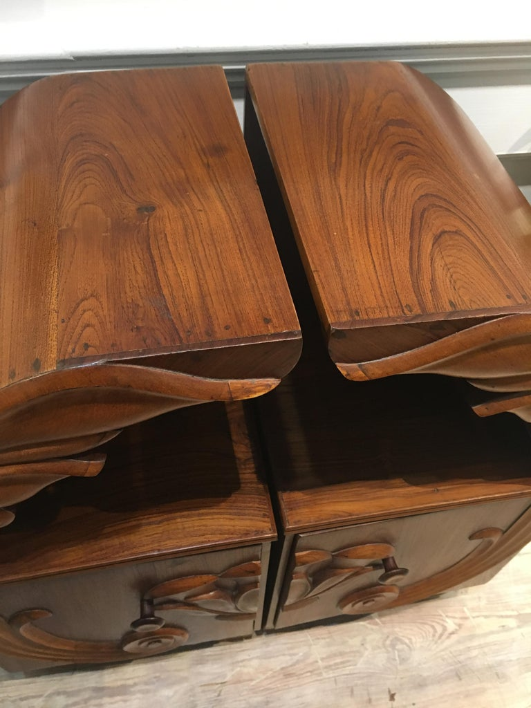 Pair of Deco Period Teak Side Tables with Lotus Design In Excellent Condition For Sale In Nantucket, MA