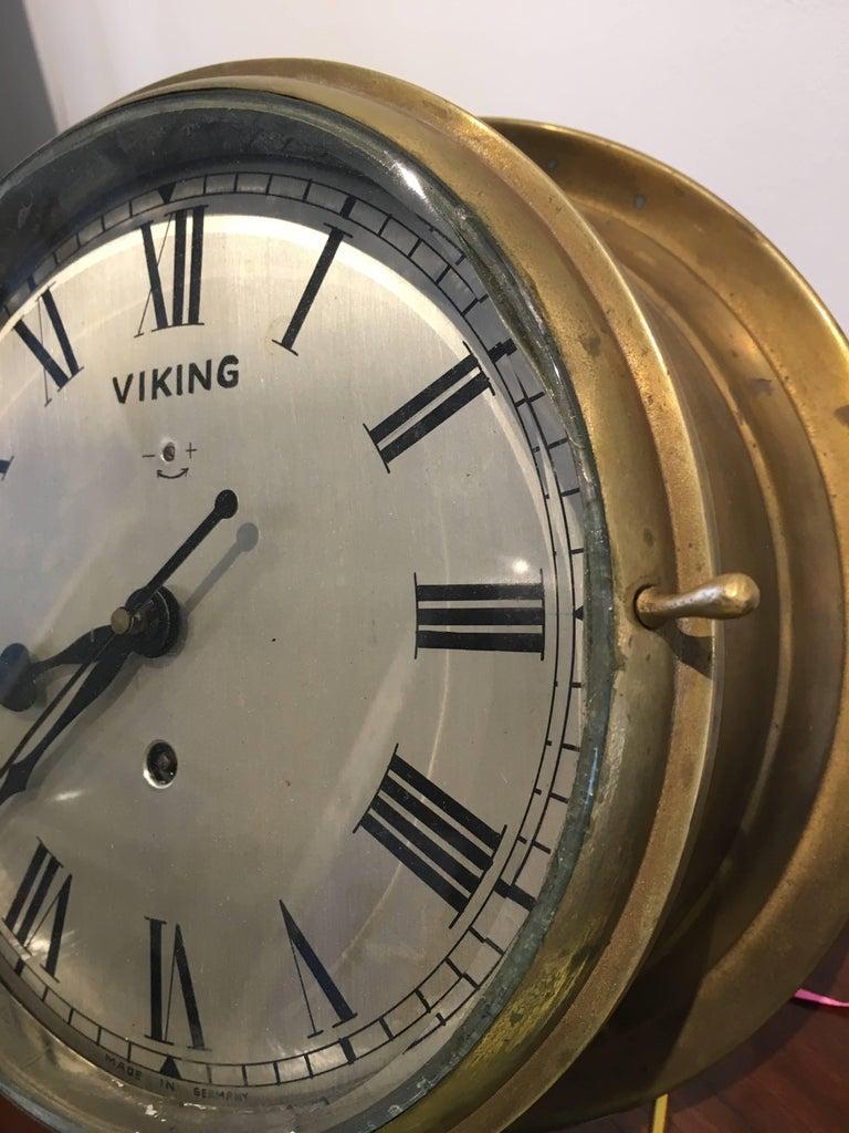 20th Century Nautical Brass Ship's Clock, circa 1960s For Sale