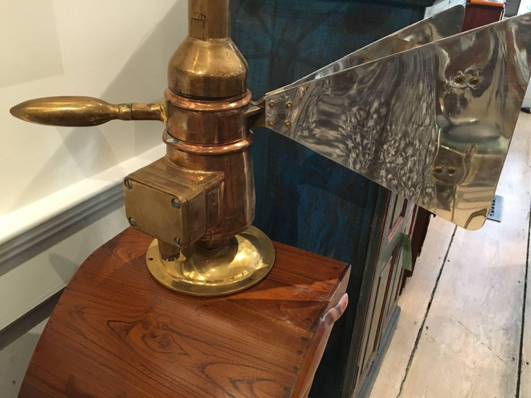 Rare Brass Ship's Anemometer with Aluminum Fin, Midcentury In Excellent Condition For Sale In Nantucket, MA