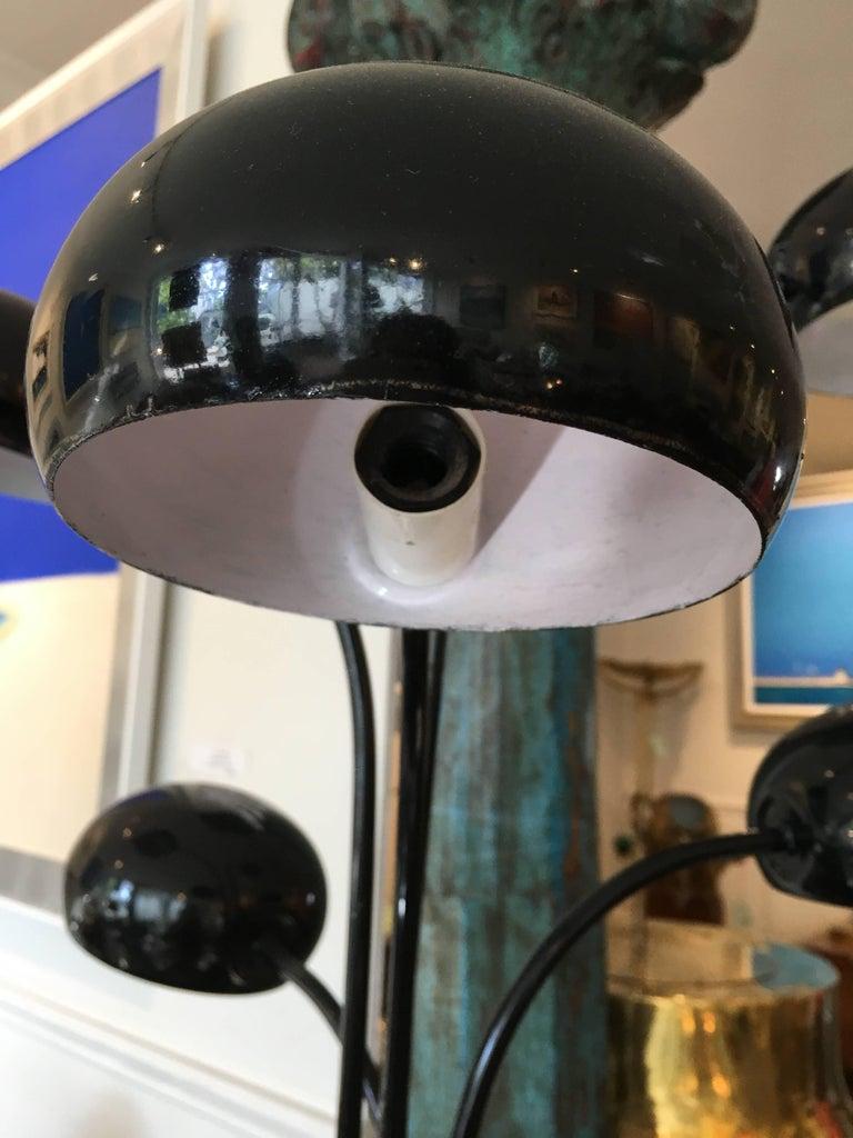 20th Century Mid-Century Modern Multi-Arm Black Enamel Table Lamp For Sale