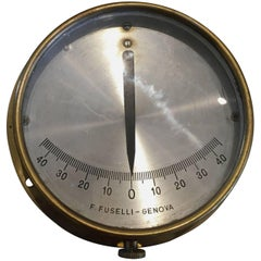 Italian Mid-century Nautical Brass Ship's Clinometer