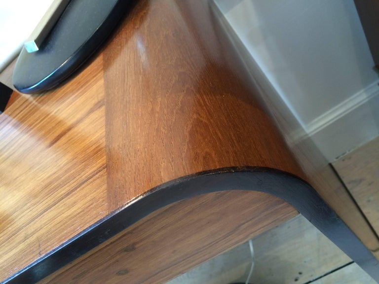 Mid-Century Modern Teak and Rosewood Waterfall Desk For Sale 1