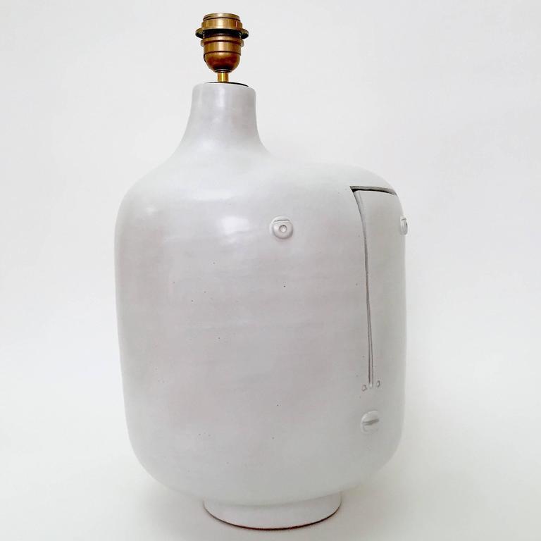 large ceramic lamp base glazed in white at 1stdibs. Black Bedroom Furniture Sets. Home Design Ideas