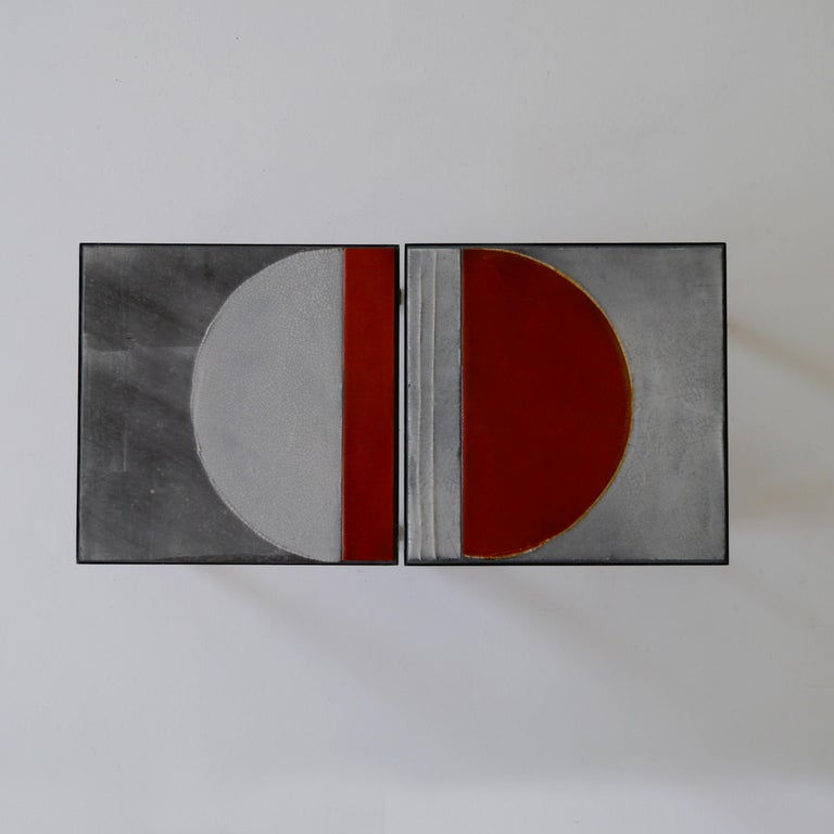 Modern  Roger Capron, Pair of Lava Glazed Side Tables, France, circa 1965 For Sale