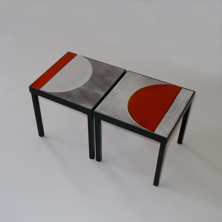 Mid-20th Century  Roger Capron, Pair of Lava Glazed Side Tables, France, circa 1965 For Sale