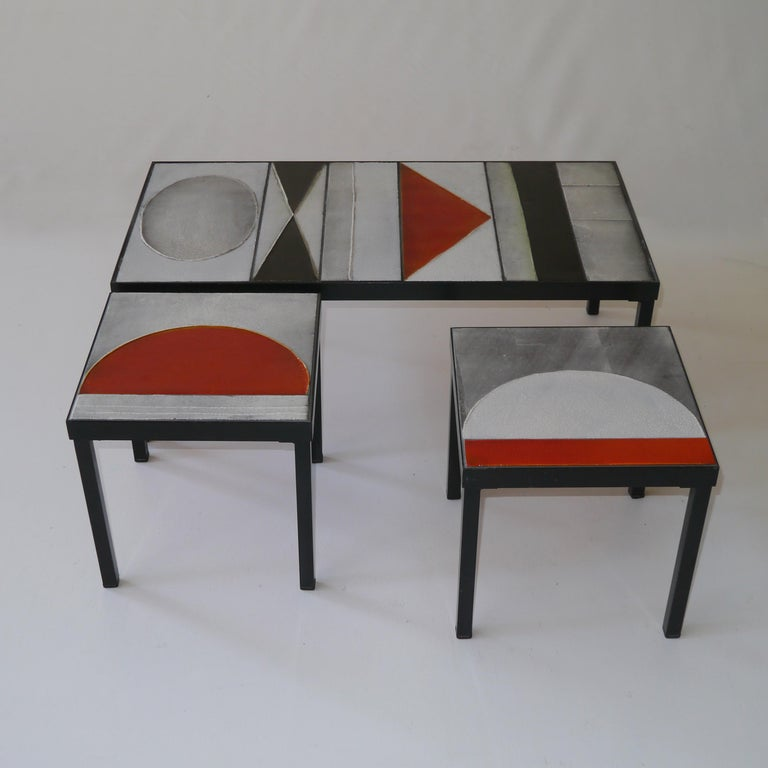 Roger Capron, Pair of Lava Glazed Side Tables, France, circa 1965 For Sale 1