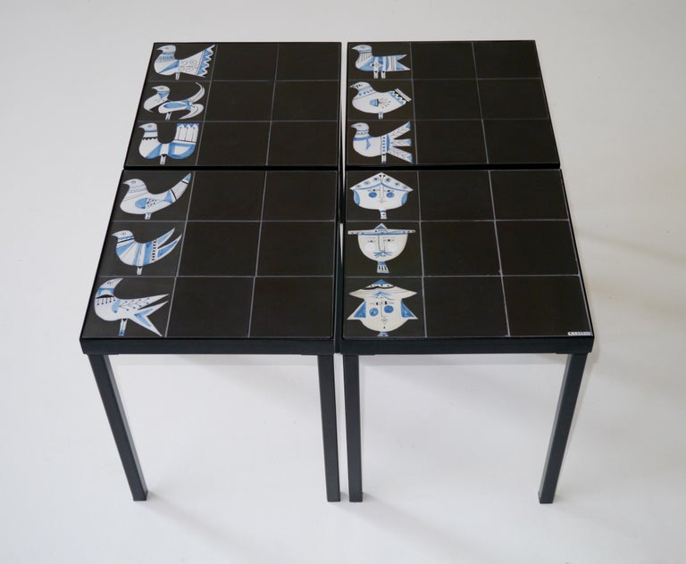 Mid-Century Modern Roger Capron Set of 4 End Tables France, circa 1960 For Sale