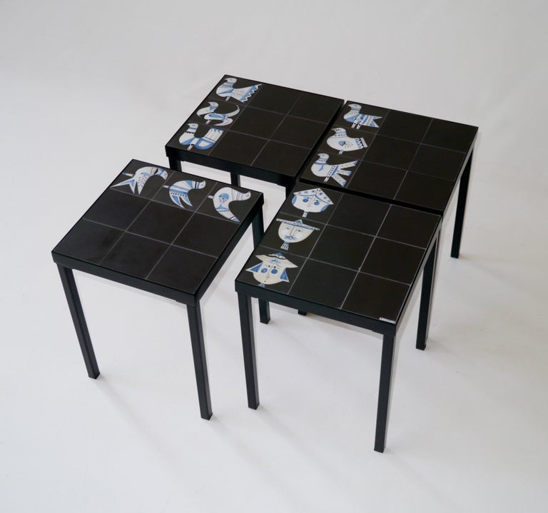 Roger Capron Set of 4 End Tables France, circa 1960 In Good Condition For Sale In Saint Ouen, FR