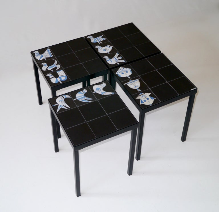 Mid-20th Century Roger Capron Set of 4 End Tables France, circa 1960 For Sale