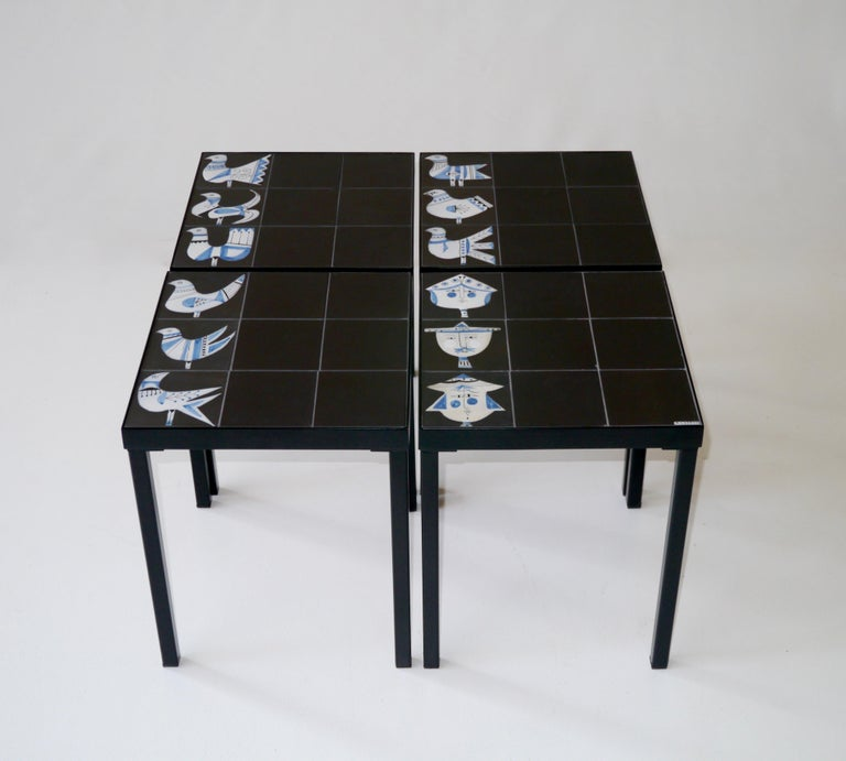 Roger Capron Set of 4 End Tables France, circa 1960 For Sale 4