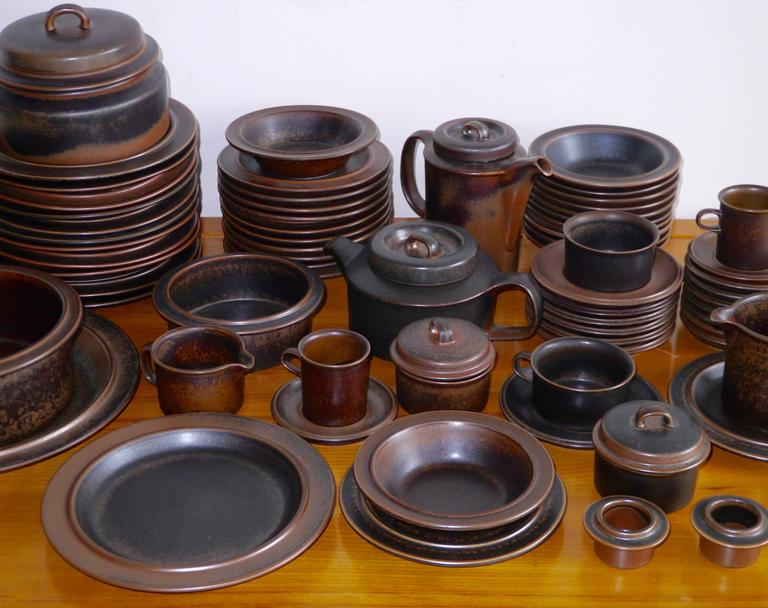A complete set for twelve guests in the stoneware  Ruska  line designed by Ulla & 66 Pieces Ulla Procope
