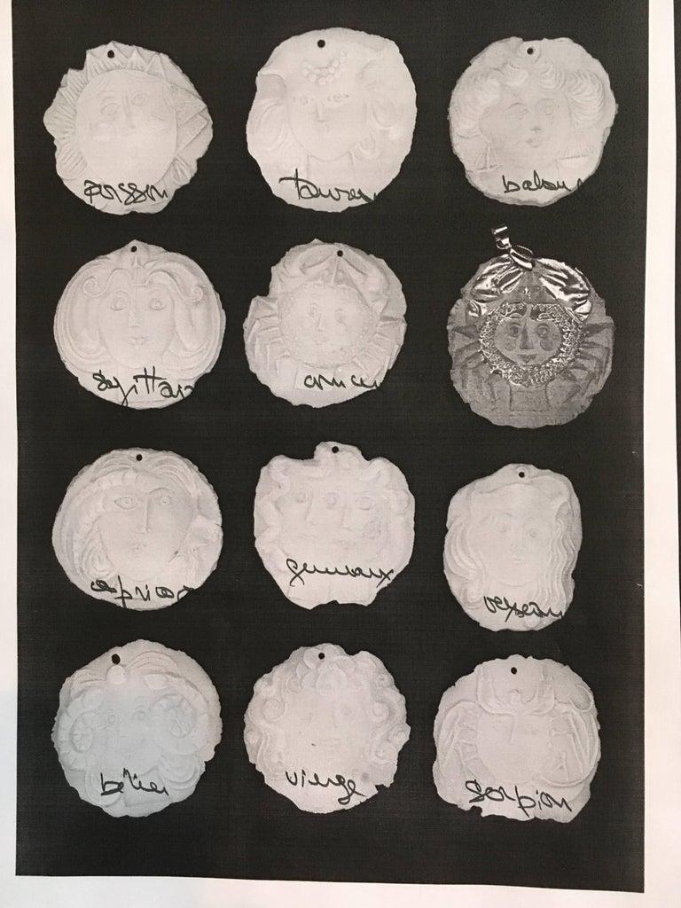 Hellenistic Roger Capron, Gilt Porcelain Medallion For Sale