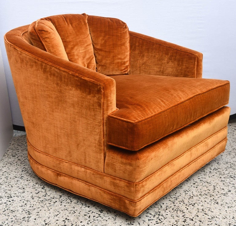A Shapely Swivel Seat Inspired By Mid Century Design Our: Drexel Heritage Swivel Club Barrel Chairs--1960s USA For