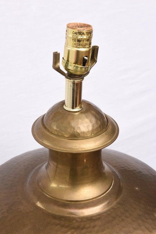 Beautiful hammered brass lamp.  1970s, USA