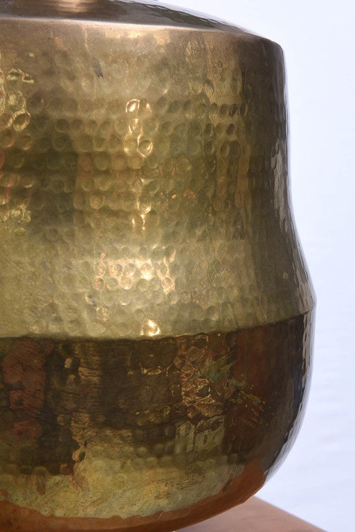 American Monumental Hammered Brass Lamp, 1970s, USA For Sale