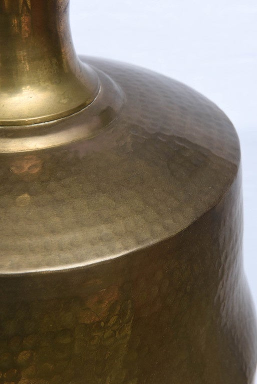 Monumental Hammered Brass Lamp, 1970s, USA For Sale 1