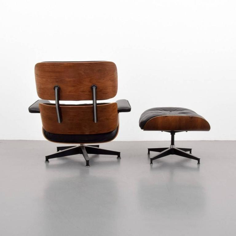 Eames Chair In Rosewood And Black Leather With Ottoman At 1stdibs