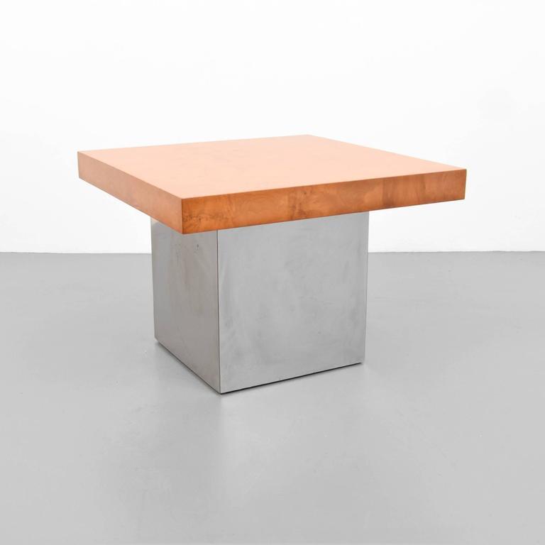 Mid-Century Modern Milo Baughman Burl Wood and Chrome End Tables, USA, 1960s For Sale