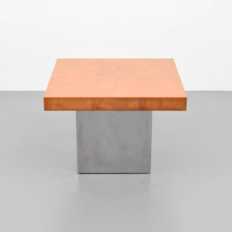 American Milo Baughman Burl Wood and Chrome End Tables, USA, 1960s For Sale