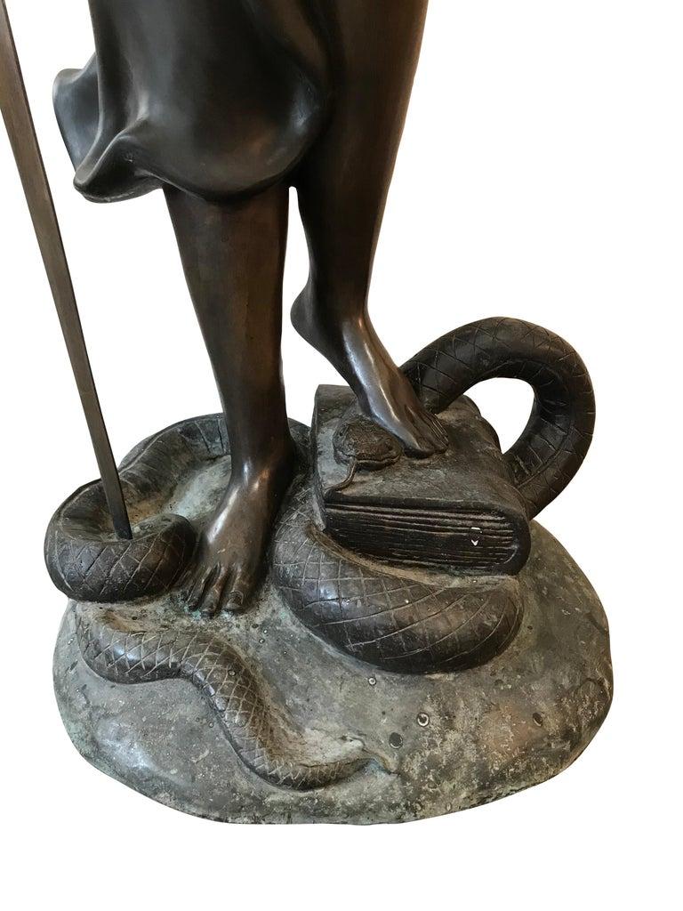 Romantic 20th Century Bronze of the Goddess Iusticia For Sale