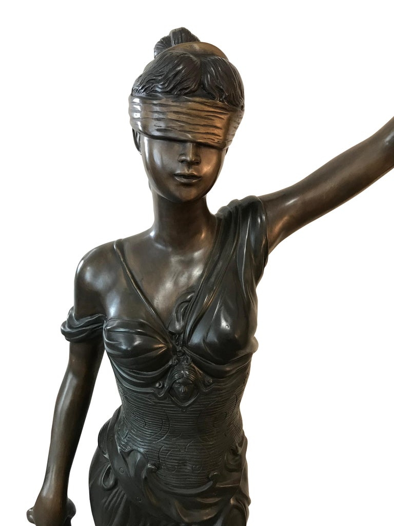 Cast 20th Century Bronze of the Goddess Iusticia For Sale