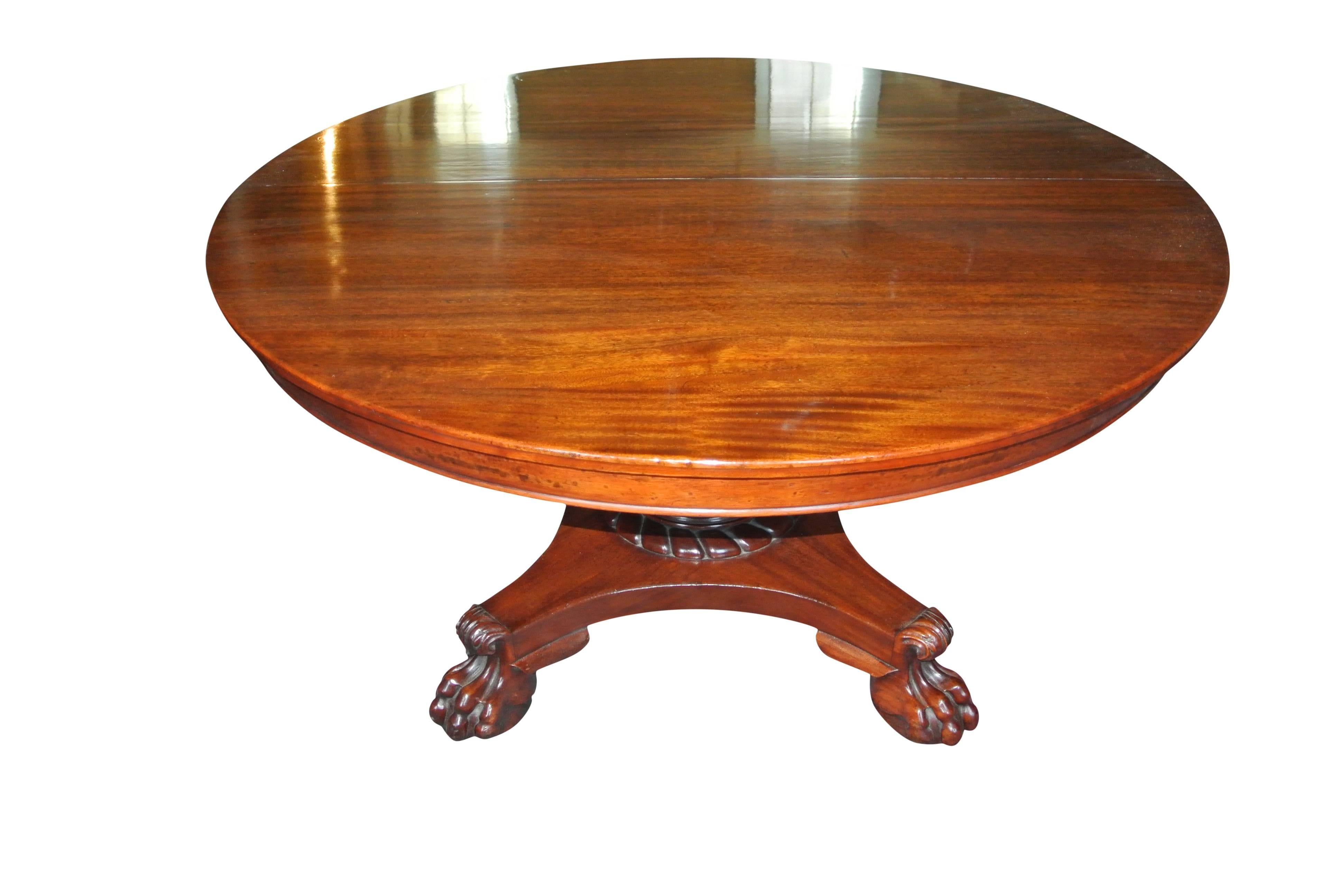 19th Century, Empire Mahogany Extending Round Table On Centre Column 3