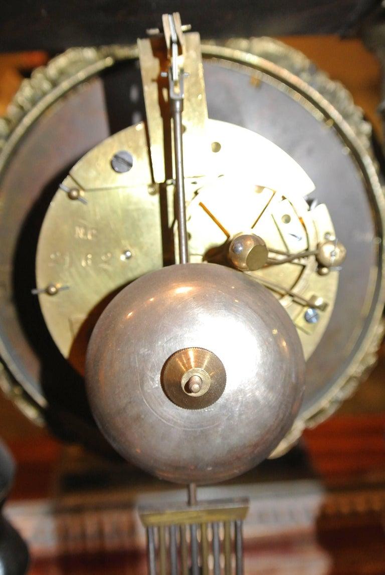 19th Century French Empire Portico Clock For Sale 2