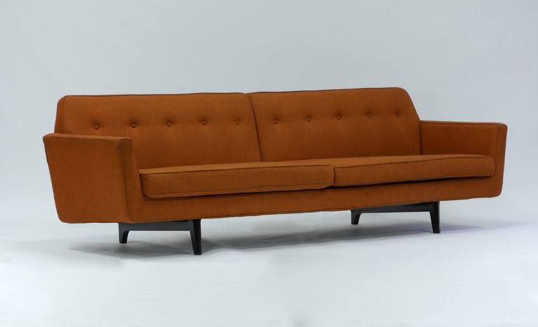 Pair of Bracket Back Sofas by Edward Wormley for Dunbar In Good Condition For Sale In Hadley, MA