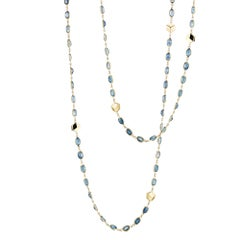 18 Karat Yellow Gold Blue Sapphire, 45.11 Carat Ombré Sautoir Necklace