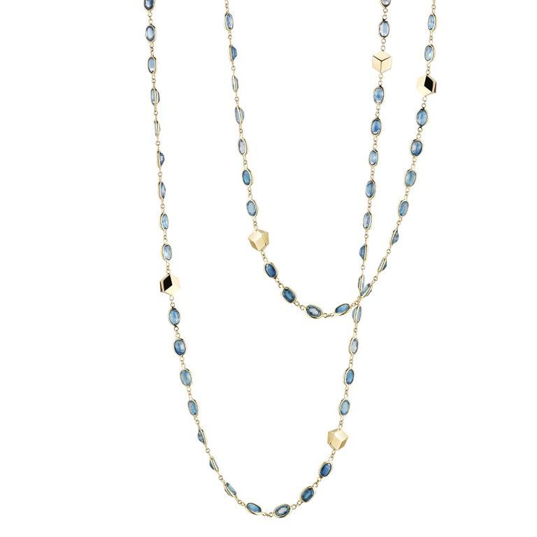 18 Karat Yellow Gold Blue Sapphire, 45.11 Carat Ombré Sautoir Necklace