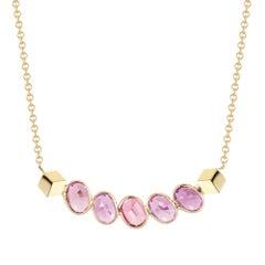 18 Karat Yellow Gold Pink Sapphire, 2.91 Carat Ombré 'Sorriso' Pendant Necklace