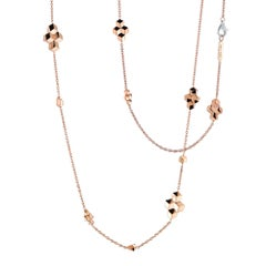 18 Karat Rose Gold Brillante Sautoir Necklace with Diamond Clasp, 0.15 Carat